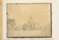 View of the island of Jehangira in the Gangees at Sultanganj (Bihar). 10 August 1822